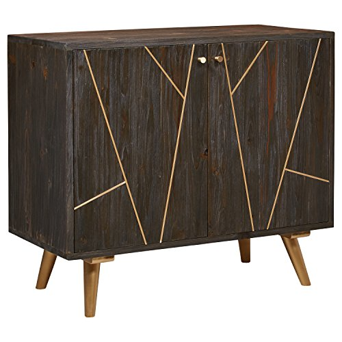 Rivet Modern Wood Buffet with Gold Accents, 35