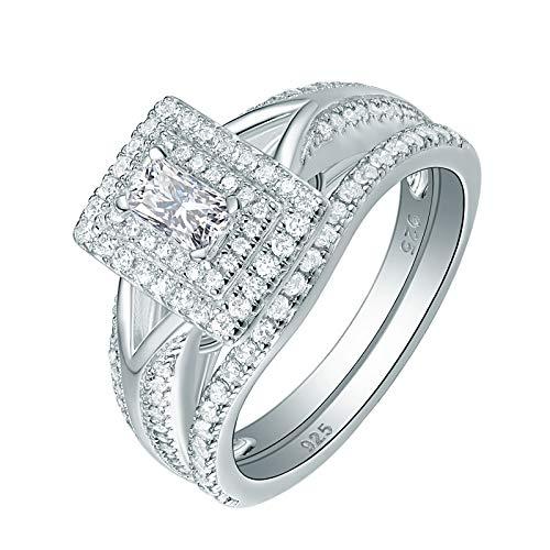 (Wuziwen Engagement Wedding Ring Set for Women 925 Sterling Silver Radiant Cut AAA Cz Size)