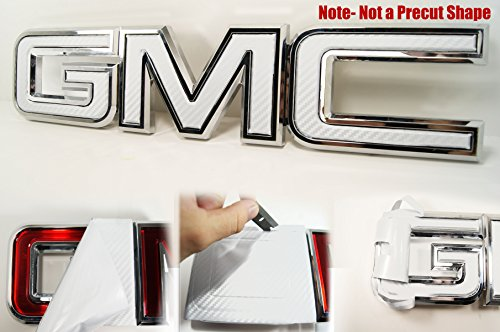 (Decal Concepts GMC Sierra/Yukon White Carbon Fiber Front Grill Emblem Overlay Wrap Kit (07-17) )