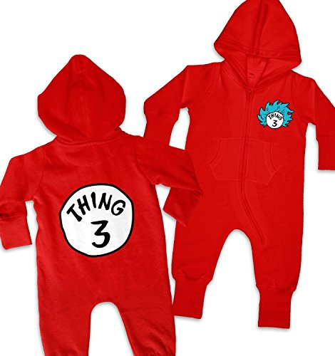 Thing 1 Thing 2 Baby Costumes (Thing 3 Costume Baby Onesie - Red 2-3 Years)