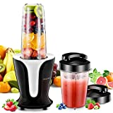 OMORC Smoothie Blender, Portable Juicer Blender with 900 Watt and 18000 RPM High Speed Motor, BPA-Free Household Fruit Mixer, Includes 2 Large Portable Tritan Travel Cups 32oz/18oz