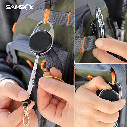 SAMSFX Fly Fishing Carabiner Tape Measure Zinger Retractor (Carabiner Tape Measure Zinger 1PC)