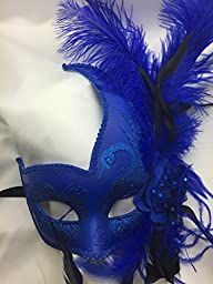 All Blue Feather Swan with Flower Masquerade Mask Ball Mask Mardi Gras Mask Women Mask