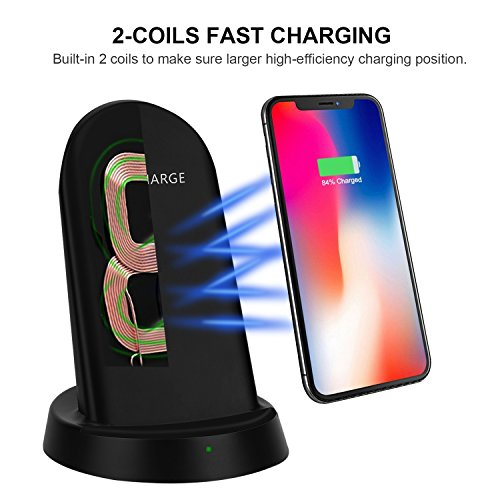 QI Wireless Stand, LAUMOX 2 Coils QI Fast Wireless Charger Charging Stand Pad 10W for iPhone X, iPhone 8 / 8 Plus, Samsung Galaxy Note 8 / S8 / S8 Plus, S7 / S7 Edge and Qi-Enabled Devices (Black)