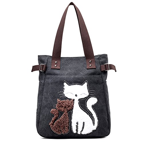 Trendy Canvas Tote Handbag Shoulder Bags for Women (Black) - 7