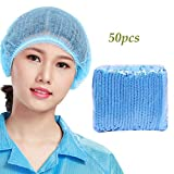 Amycute 50Pcs Disposable Caps Hair Net Non-Woven Hair Cover Comfort Protection Suitable For Laboratory, Cooking, Food Service, Hygiene