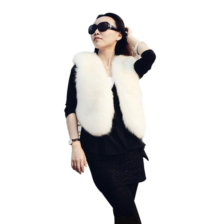 Awtang Womens Winter Waistcoat Faux Fur Vest Coat V-Collar Short