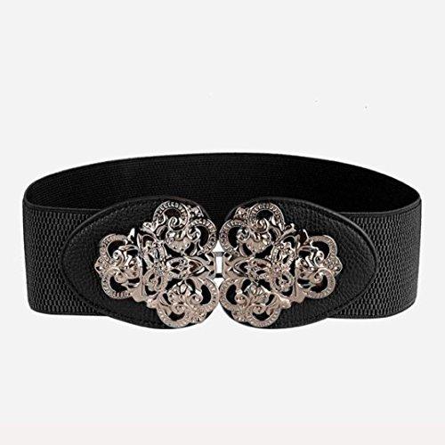 AutumnFall® Woman Gold Tone Interlocking Buckle Waist Belt Corset Band Cinch (Black)