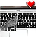 """Best Acer Chromebook Keyboard Cover Ergonomic Silicone Protector Laptop Accessory Cool Colors Fits Acer Chromebooks 11.6"""" Durable Eco-Friendly & Hygienic by Casiii (Not for Acer CB3-131) Black"""