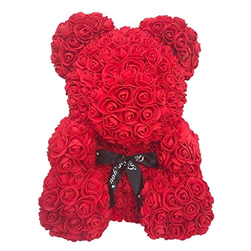 - Rose Bear Teddy - Fathers Day Mom Anniversary Best Perfect New Unique handmade Gift Ideas for Lovers Women Men Teen Wife Husband Him Her Teen Son Daughter Valentine Wedding Birthday Love 25cm