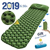 Sleeping Pad Comfortable Camping Mat Ultralight Camp Mattress Outdoor Air Sleeping Bed with Innovation Separates Inflatable Pillow Button Stitching for Travelling and Hiking