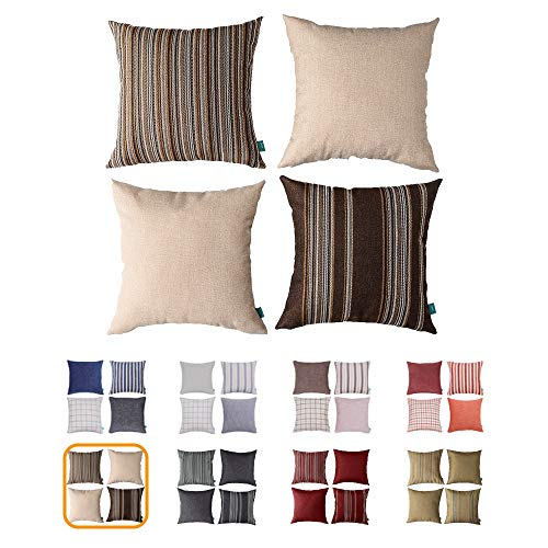 Home Plus Cushion, Cushion Cover, 18X18 Throw Pillow Covers, Chocolate Deco Pillow, Four Cushions PER Set Woven Check Multi Pattern Story, Woven Stripes, Wool Look 4 Pack Chocolate