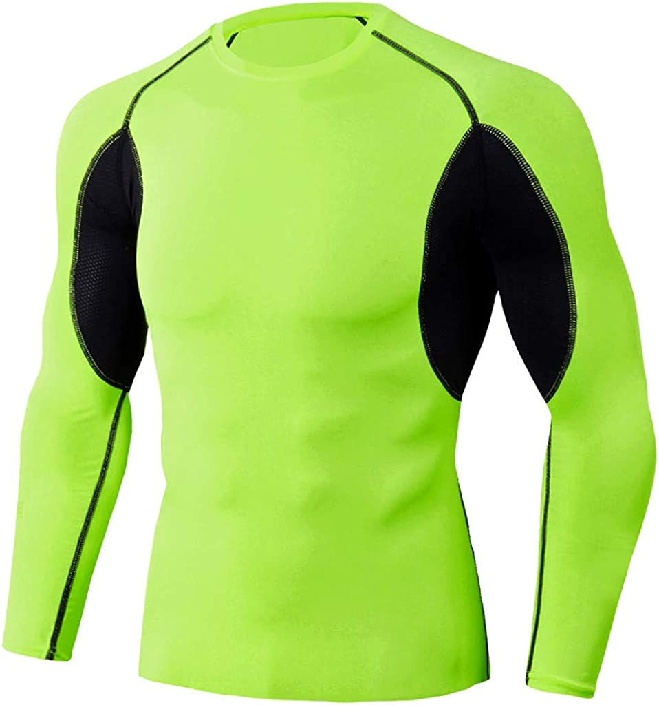 Winsummer Mens Compression Mock Long Sleeve Shirt Baselayer Tops Athletic Workout T Shirts