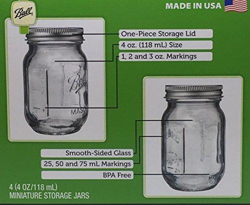 Amazon.com: Ball 1440080100 Miniature Storage Jar Mini Jar 4 Oz Miniature  Storage Jar, 24 Jars,: Home U0026 Kitchen