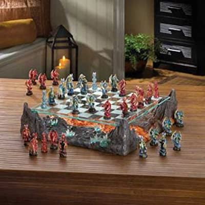 AW Fire River Dragon Chess Set w/ Glass Game Board Dragon Warriors NEW CHESS SET