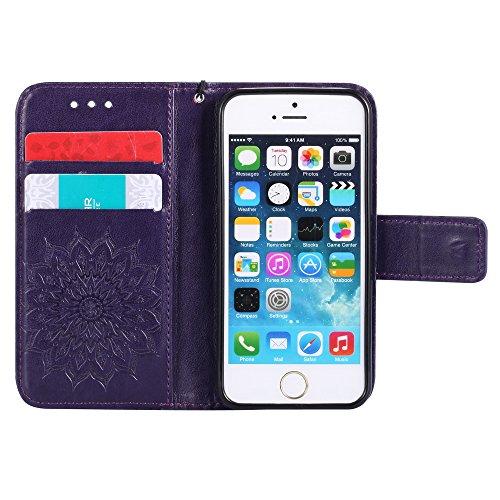 Portefeuille Anti iPhone5 Aimant iPhone par Bleu Etui Protection Choc Coque 5S iPhoneSE iPhone5S Rabat Cuir Apple Violet Lomogo KATU22182 5 en pour Porte avec Fermeture Carte Housse de SwZ6xCq0
