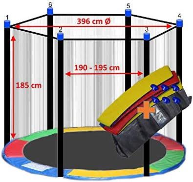 awshop24 Trampolin Randabdeckung Bunt Sicherheitsnetz 6 Stangen 396-400 cm /Ø