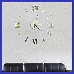 Alrens(TM)Silver Roman Numerals Acrylic Creative DIY Mirror Wall Clock 3D Wall Sticker Home Decoration Self Adhesive Mural Decal Living Room Bedroom Digital Clock Decor Art