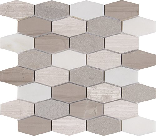 M S International Bellagio Blend Elongated Octagon 11.63 In. X 12 In. X 10 mm Polished Marble Mesh-Mounted Mosaic Tile, (9.7 sq. ft., 10 pieces per case)