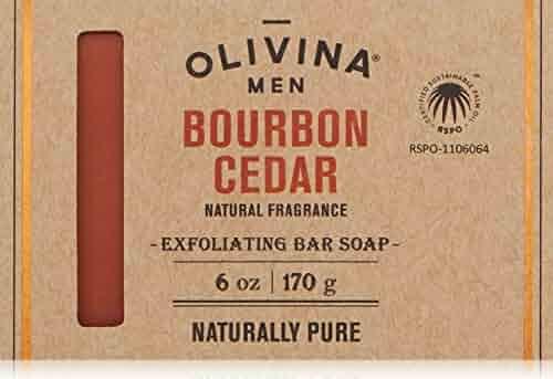 Olivina Men Exfoliating Soap Bar, Bourbon Cedar, 6 fl. oz.