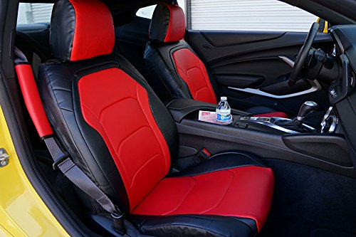 CHEVY CAMARO 2016- BLACK/RED Artificial leather Custom Made Original fit FRONT seat cover ()