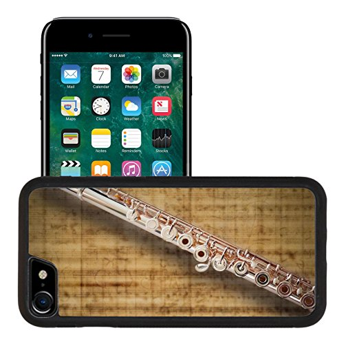 (Liili Apple iPhone 7 iPhone 8 Aluminum Backplate Bumper Snap iphone7/8 Case Flute Middle Joint 14 K Rose Gold On MUSIC Sheet Background Photo 9654748)