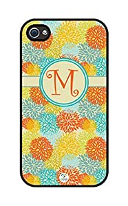 iZERCASE Monogram Personalized Yellow and Orange Seamless Pattern One Initial rubber iphone 4 case - Fits iphone 4 & iphone 4s T-Mobile, Verizon, AT&T, Sprint and International (Black)