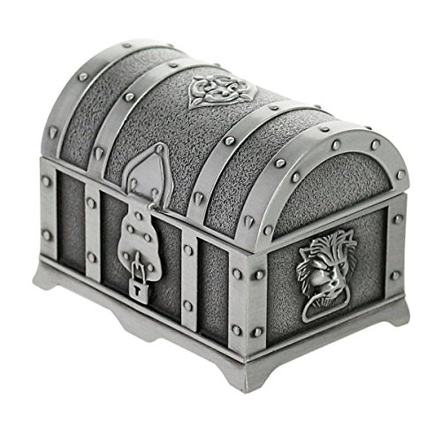 Antique Pewter-Finished Embossed Metal Trinket/Jewelry Box - Treasure Chest with Lion Head