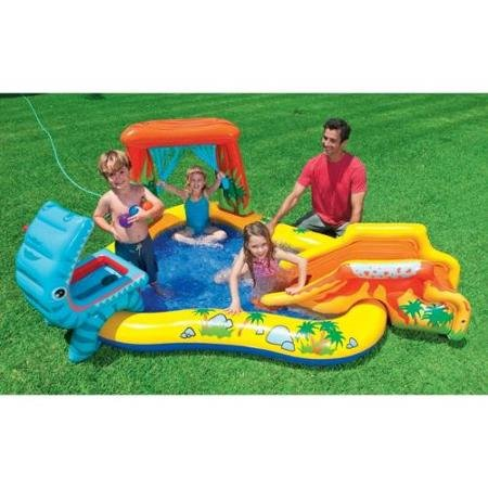 Intex Dinosaur Play Center Inflatable Kids Set & Swimming Pool w/Electric Pump