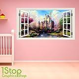 1Stop Graphics Shop - FAIRY TALE CASTLE WINDOW WALL STICKER FULL COLOUR - BOYS GIRLS WALL ART C372 - Size: Large