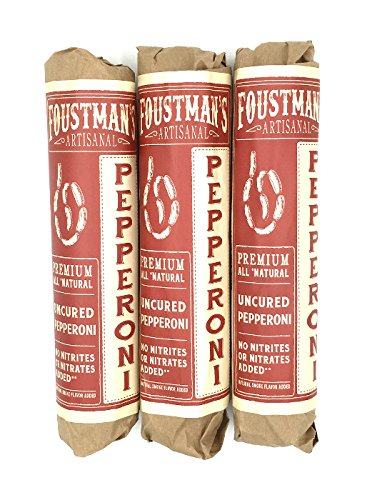 Foustman's Pepperoni, Artisan, Nitrate-Free, Naturally Cured (Pack of 3) (Best Cured Meats Nyc)