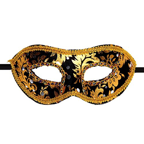 XUANOU Mask, Women Halloween Ball Dance performance mask (Black)