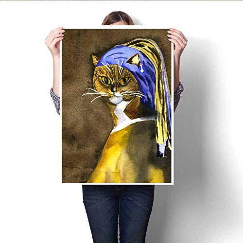 - Anshesix Canvas Painting Sticker Cat with The Pearl Earring Print On Canvas for Wall Decor 20