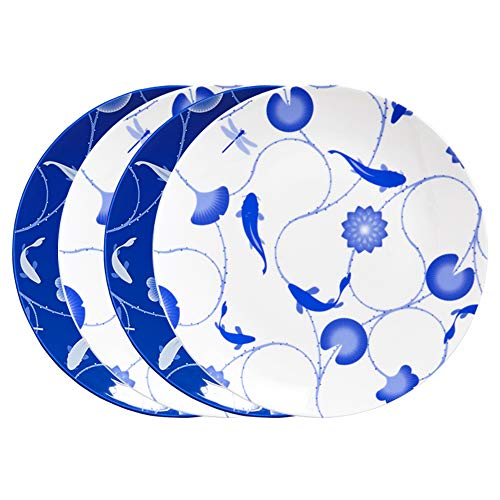 ZENS lifestyle Dinner Plates Set of 4 Bone China 10 Inch Dinnerware Set 2 White and 2 Blue Flower and Fish Continuing Pattern ()