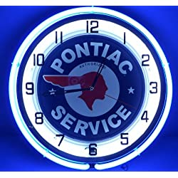 Pontiac 18 Double Neon Lighted Wall Clock Sign Blue