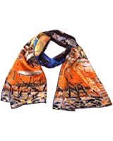 """Luxurious 100% Charmeuse Silk Art Collection Long Scarf Shawl with Hand Rolled Edge, Van Gogh's """"Cafe Terrace At Night"""", Gustav Klimt's """"Giuditta Salome"""", Wassily Kandinsky's """"Houses in Munich"""", Van Gogh's """"Irises"""", Gustav Klimt's """"Adele Bloch-bauer"""", Gustav Klimt's """"The Virgin"""", Monet's """"Water Lilies"""", Van Gogh's """"Vase with Twelve Sunflowers"""""""