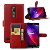 Premium Leather Wallet Case Cover with Stand Card Holder for ASUS Zenfone 2 Smart Phone (ZE550ML / ZE551ML, 5.5 Inch Display, 2015 Version) (Wallet - Red)