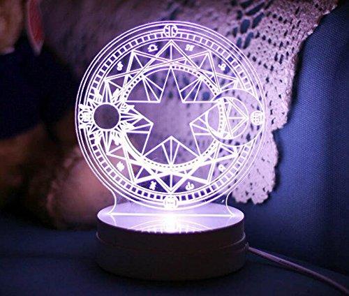 Cardcaptor Sakura Magical Clow Magic matrix Shaped Colorful Light LED Night Lamp (Sakura)