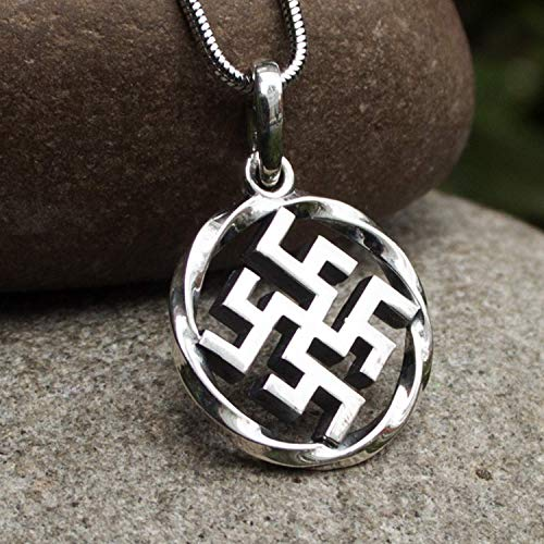 925 Sterling Silver Fern Flower Thunder Cross Viking Necklace for Men Women Slavic Pendant Pagan Norse Wiccan Jewelry
