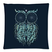 """Two Dream Catchers Combine Night Owl Navy Blue Custom Zippered Pillow Cushion Case Throw Pillow Covers 18""""x18""""(two sides)"""