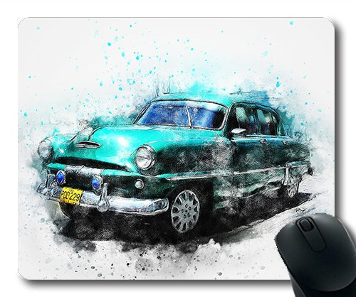 (Precision lock edge mouse pad) Car Old Car Art Abstract Watercolor Vintage Gaming mouse pad mouse mat for mac or computer