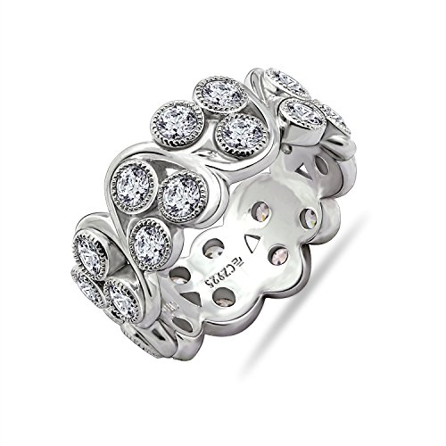 Diamonbliss Platinum Plated Sterling Silver Cubic Zirconia Vine Band Ring- Size 8