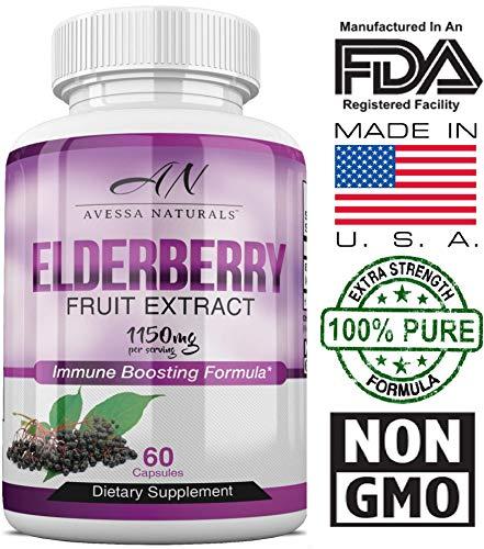Premium Elderberry Immune Boosting Supplement | Natural Immunity Booster for Men & Women with Vitamins, Minerals & Antioxidants | Extra Strength | Healthy Sambucus Nigra Elderberry Extract | 1150mg Review
