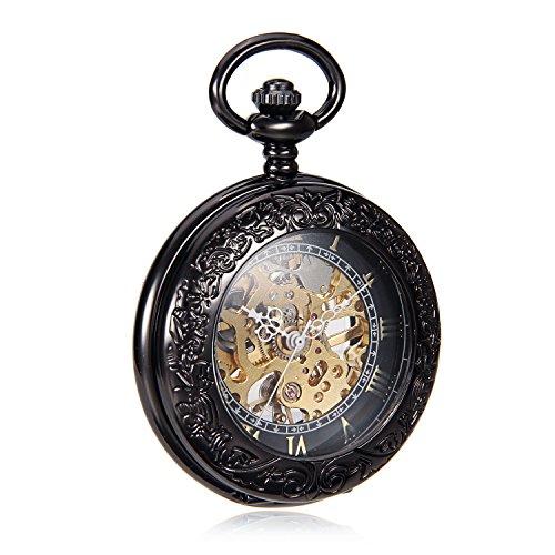 Amazon.com: Classic Elegant Hand Wind Vintage Unique Retro Pendant Classic Mens Mechanical Pocket Watch W/Chain reloj de bolsillo: Watches