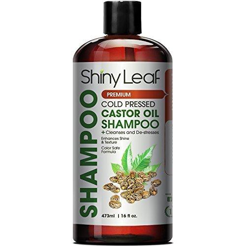 Shiny Leaf Cold Pressed Castor Oil Shampoo – Premium Hair Growth Shampoo with Cold Pressed Castor Oil, For All Hair Types, Moisturizes Hair, Keeps Hair Silky Soft and Smooth, 16 oz. (473ml)