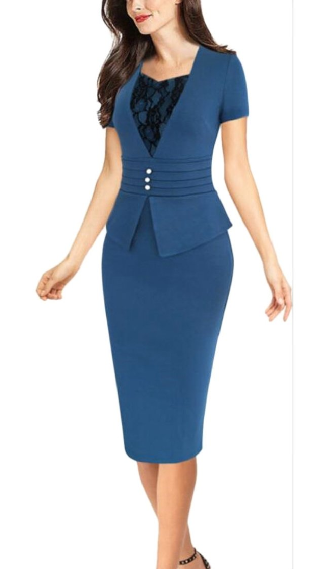 XQS Womens Vintage Summer Short Sleeve Bodycon Wear to Work Pencil Dress Blue XXL