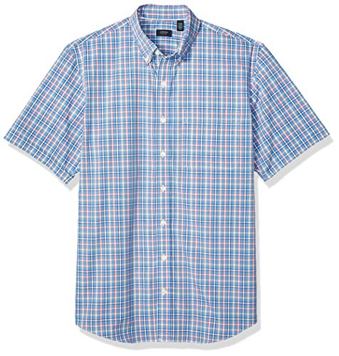 Arrow 1851 Men's Big and Tall Hamilton Poplins Short Sleeve Button Down Plaid Shirt, Silver Lake Blue, 3X-Large