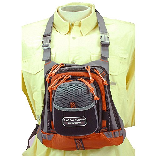 TFO 255MCP Med Size Chest Pack with Front Drop Pocket 13' x 1' Grey, Grey/Orange