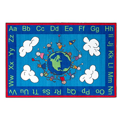 Flagship Carpets Ce189 22W Happy World Rug  Promotes Acceptance With Cheerful Friends Of Diverse Backgrounds  4 X 6  48  Length  72  Width  Blue Multi Color