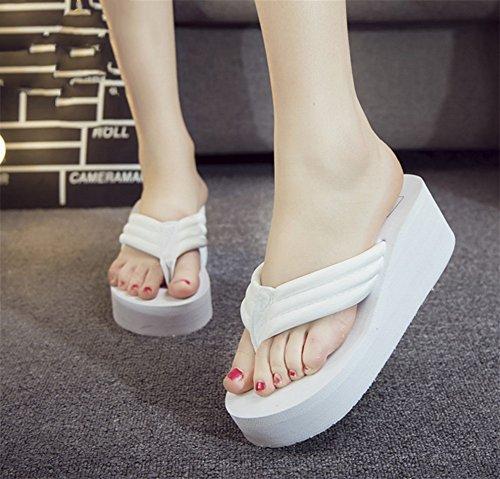 Playa Sandalias Verano de Antideslizante White Gran NVXIE Chanclas de Zapatos de Tela de Moda Tamaño Mujer 01wBqUxB